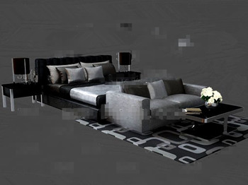 Black and gray fashion double bed