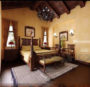Retro ethnic wooden bedroom