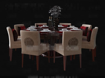 Link toChinese style wooden round dining table