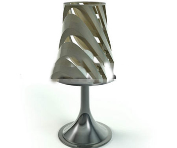 Embossed silver metal table lamp