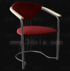 Dark red metal feet chair