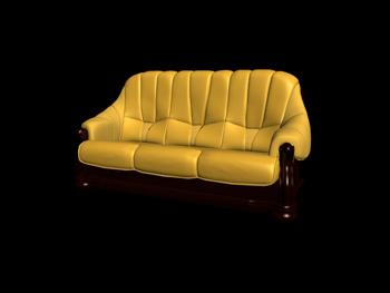 Link toThree seats yellow leather sofa