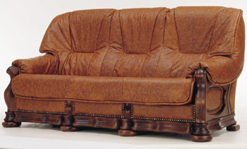 Link toThree seats leather brown sofa