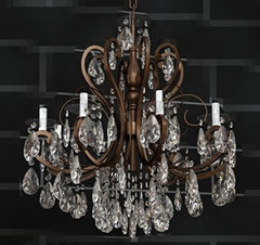 Metal chain crystal clear sequins chandelier