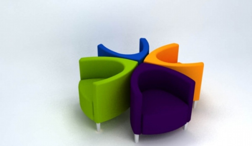 Colorful single sofa 3D model