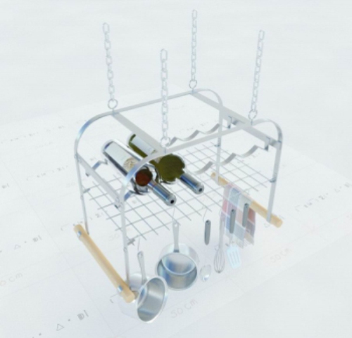 3D models can be hung kitchen wine rack