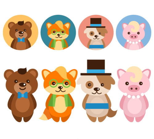 Avatar 2 Animals: 8 Cute Cartoon Animals Vector Material With Avatar