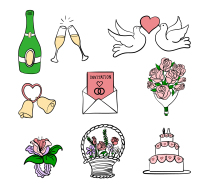 9 hand-painted wedding elements vector