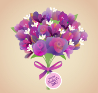 Purple Mothers Day bouquet vector material