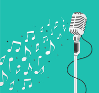 Silver vertical microphone and musical notes Vector