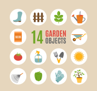 Fourteen paragraph gardening tools icon vector