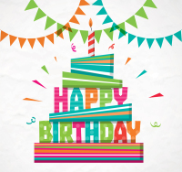 Color birthday cake greeting card vector