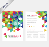 Business leaflets colored triangle element vector material