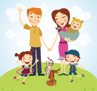 Happy family of five vector material