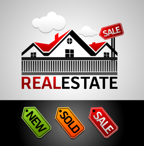 real estate for sale sign and logo vector material