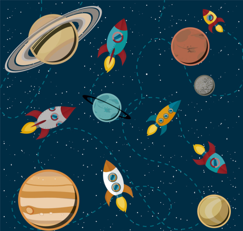 Cartoon space rocket illustrator vector material_Download free