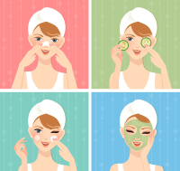4 Beauty woman design vector material