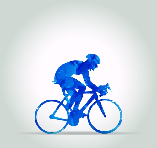Cycling man silhouette vector material