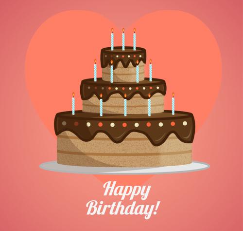 Cartoon Chocolate Three Layers Birthday Cake Vector
