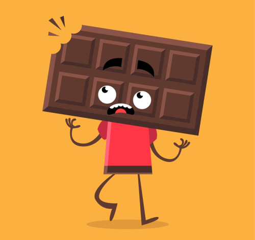 Cartoon bitten chocolate man vector material