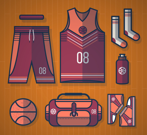 7 basketball supplies vector material