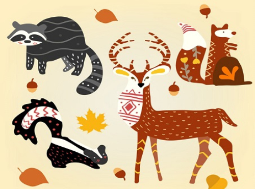 4 autumn forest animal vector