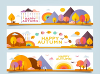 3 cartoon fall landscape banner vector